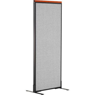 """Interion® Deluxe Freestanding Office Partition Panel, 24-1/4""""W x 61-1/2""""H, Gray"""
