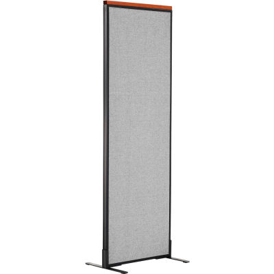"""Interion® Deluxe Freestanding Office Partition Panel, 24-1/4""""W x 73-1/2""""H, Gray"""