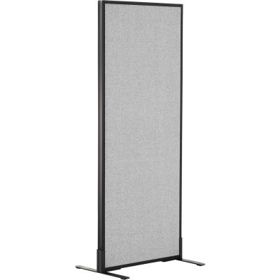 "Interion® Freestanding Office Partition Panel, 24-1/4""W x 60""H, Gray"