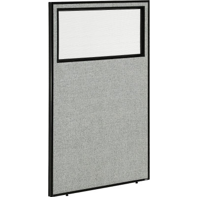 "Interion® Office Partition Panel with Partial Window, 36-1/4""W x 60""H, Gray"