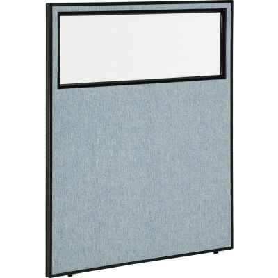"""Interion® Office Partition Panel with Partial Window, 48-1/4""""W x 60""""H, Blue"""