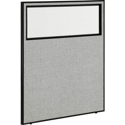 """Interion® Office Partition Panel with Partial Window, 48-1/4""""W x 60""""H, Gray"""