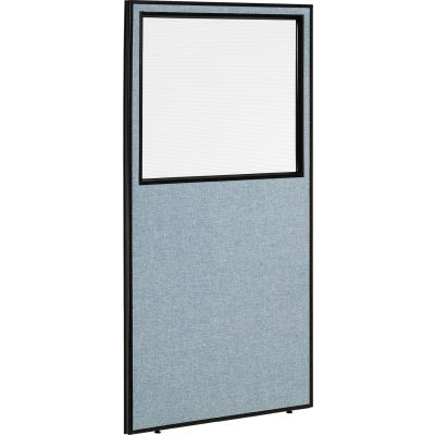 "Interion® Office Partition Panel with Partial Window, 36-1/4""W x 72""H, Blue"
