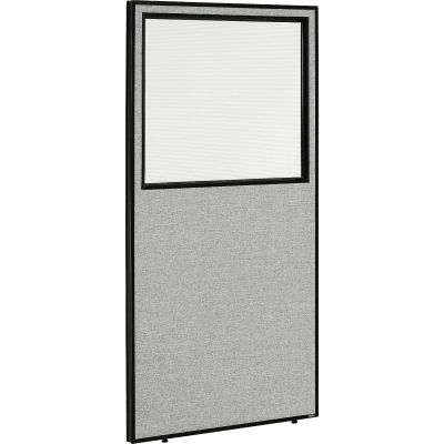 "Interion® Office Partition Panel with Partial Window, 36-1/4""W x 72""H, Gray"