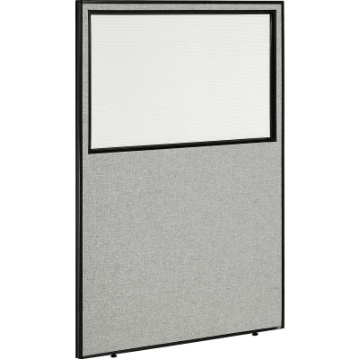 "Interion® Office Partition Panel with Partial Window, 48-1/4""W x 72""H, Gray"