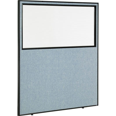 "Interion® Office Partition Panel with Partial Window, 60-1/4""W x 72""H, Blue"