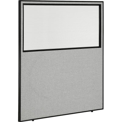 """Interion® Office Partition Panel with Partial Window, 60-1/4""""W x 72""""H, Gray"""