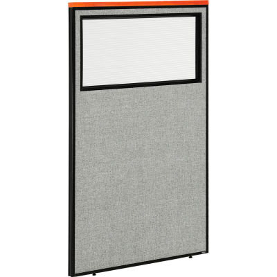 "Interion® Deluxe Office Partition Panel with Partial Window, 36-1/4""W x 61-1/2""H, Gray"
