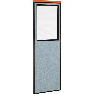 "Interion® Deluxe Office Partition Panel with Partial Window, 24-1/4""W x 73-1/2""H, Blue"