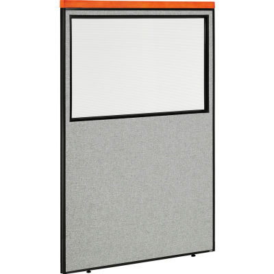 """Interion® Deluxe Office Partition Panel with Partial Window, 48-1/4""""W x 73-1/2""""H, Gray"""