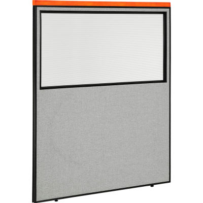 """Interion® Deluxe Office Partition Panel with Partial Window, 60-1/4""""W x 73-1/2""""H, Gray"""