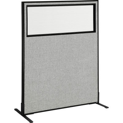 """Interion® Freestanding Office Partition Panel with Partial Window, 48-1/4""""W x 60""""H, Gray"""