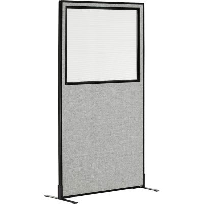 "Interion® Freestanding Office Partition Panel with Partial Window, 36-1/4""W x 72""H, Gray"