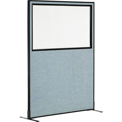 """Interion® Freestanding Office Partition Panel with Partial Window, 48-1/4""""W x 72""""H, Blue"""