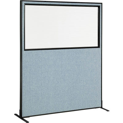 "Interion® Freestanding Office Partition Panel with Partial Window, 60-1/4""W x 72""H, Blue"