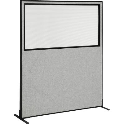 "Interion® Freestanding Office Partition Panel with Partial Window, 60-1/4""W x 72""H, Gray"