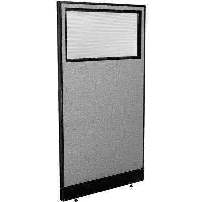 "Interion® Office Partition Panel with Partial Window & Raceway, 36-1/4""W x 64""H, Gray"