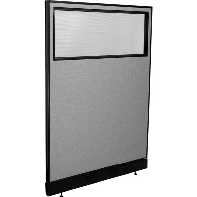 """Interion® Office Partition Panel with Partial Window & Raceway, 48-1/4""""W x 64""""H, Gray"""