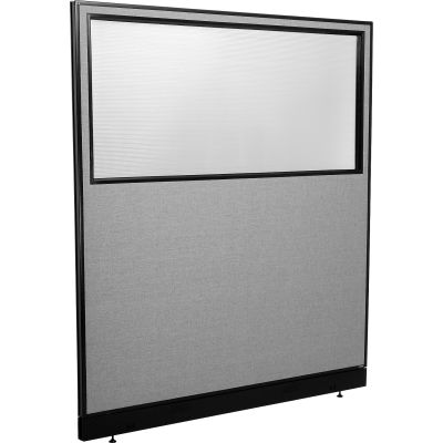 "Interion® Office Partition Panel with Partial Window & Raceway, 60-1/4""W x 64""H, Gray"