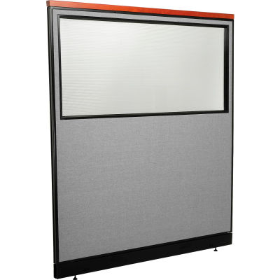 "Interion® Deluxe Office Partition Panel w/Partial Window & Raceway 60-1/4""W x 65-1/2""H Gray"