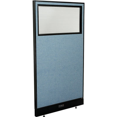 "Interion® Electric Office Partition Panel with Partial Window, 36-1/4""W x 64""H, Blue"