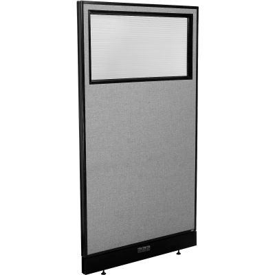 """Interion® Electric Office Partition Panel with Partial Window, 36-1/4""""W x 64""""H, Gray"""