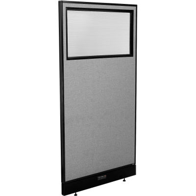 """Interion® Electric Office Partition Panel with Partial Window, 36-1/4""""W x 76""""H, Gray"""