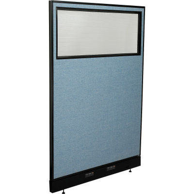 """Interion® Electric Office Partition Panel with Partial Window, 48-1/4""""W x 76""""H, Blue"""