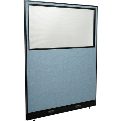 "Interion® Electric Office Partition Panel with Partial Window, 60-1/4""W x 76""H, Blue"
