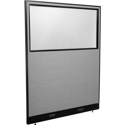 "Interion® Electric Office Partition Panel with Partial Window, 60-1/4""W x 76""H, Gray"