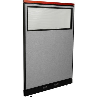 """Interion® Deluxe Electric Office Partition Panel with Partial Window, 48-1/4""""W x 65-1/2""""H, Gray"""