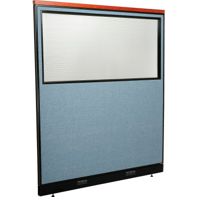 "Interion® Deluxe Electric Office Partition Panel with Partial Window, 60-1/4""W x 65-1/2""H, Blue"