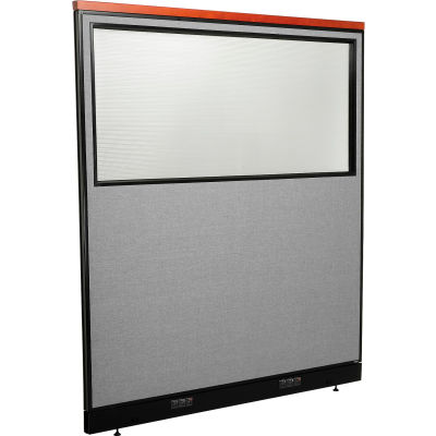 """Interion® Deluxe Electric Office Partition Panel with Partial Window, 60-1/4""""W x 65-1/2""""H, Gray"""