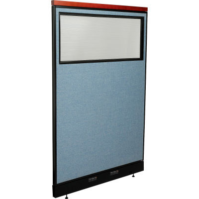 "Interion® Deluxe Electric Office Partition Panel with Partial Window, 48-1/4""W x 77-1/2""H, Blue"