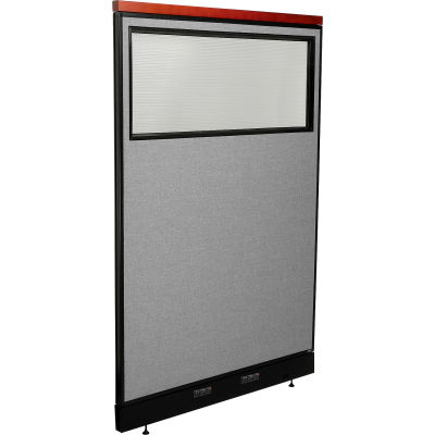 "Interion® Deluxe Electric Office Partition Panel with Partial Window, 48-1/4""W x 77-1/2""H, Gray"