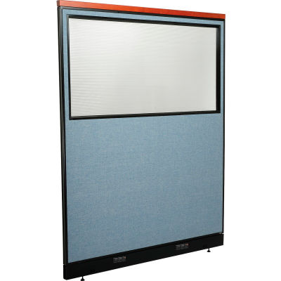 """Interion® Deluxe Electric Office Partition Panel with Partial Window, 60-1/4""""W x 77-1/2""""H, Blue"""