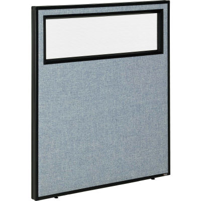 "Interion® Office Partition Panel with Partial Window, 36-1/4""W x 42""H, Blue"