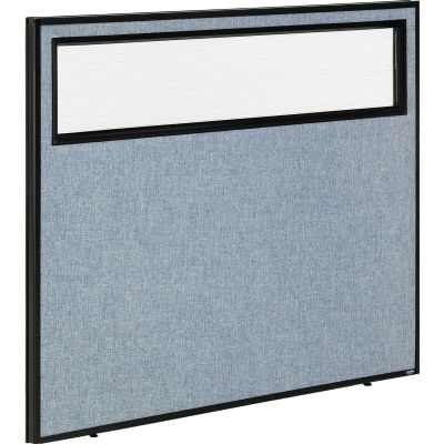 """Interion® Office Partition Panel with Partial Window, 48-1/4""""W x 42""""H, Blue"""