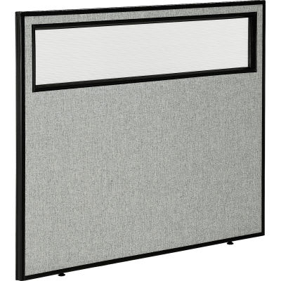 """Interion® Office Partition Panel with Partial Window, 48-1/4""""W x 42""""H, Gray"""