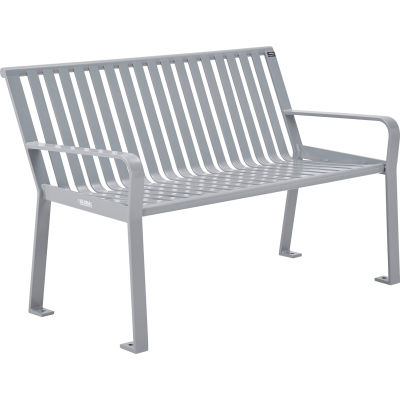 Global Industrial™ 4 ft. Outdoor Park Bench with Back - Steel Slat - Gray