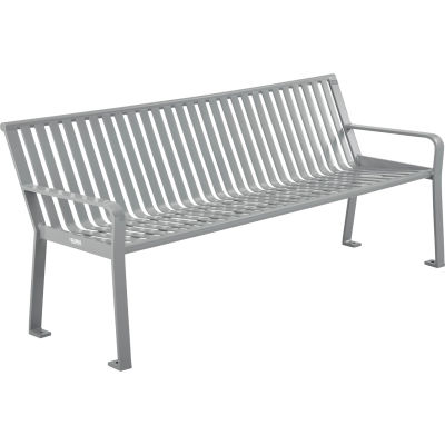 Global Industrial™ 8 ft. Outdoor Park Bench with Back - Steel Slat - Gray