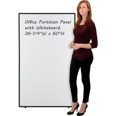 """Interion® Office Partition Panel with Whiteboard, 36-1/4""""W x 60""""H"""