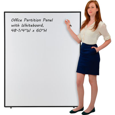 """Interion® Office Partition Panel with Whiteboard, 48-1/4""""W x 60""""H"""