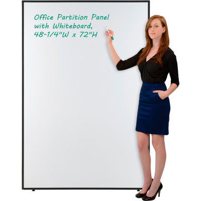 """Interion® Office Partition Panel With Whiteboard, 48-1/4""""W x 72""""H"""