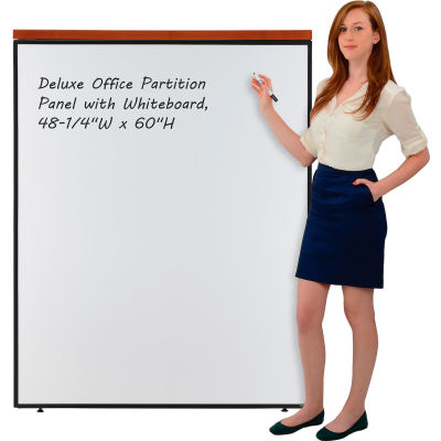 """Interion® Deluxe Office Partition Panel with Whiteboard, 48-1/4""""W x 61-1/2""""H"""