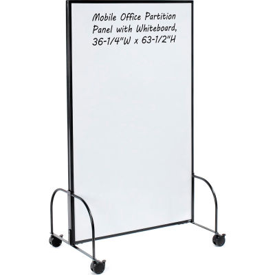 "Global Industrial™ Mobile Office Partition Panel with Whiteboard, 36-1/4""W x 63-1/2""H"