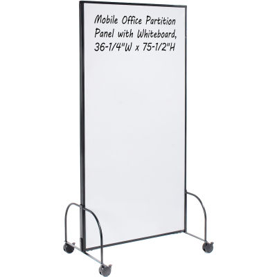 "Global Industrial™ Mobile Office Partition Panel with Whiteboard, 36-1/4""W x 75-1/2""H"