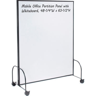 """Global Industrial™ Mobile Office Partition Panel with Whiteboard, 48-1/4""""W x 63-1/2""""H"""