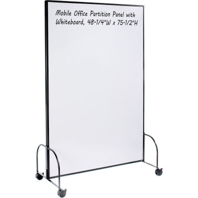 """Global Industrial™ Mobile Office Partition Panel with Whiteboard, 48-1/4""""W x 75-1/2""""H"""