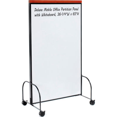 """Interion® Deluxe Mobile Office Partition Panel with 2-sided Whiteboard,36-1/4""""W x 65""""H"""